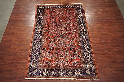 Antique 7X12 Sarouq Hand-Knotted Wool Area Rug 1930s Oriental Carpet (7.3 x 11.6