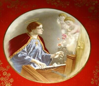Antique circa 1875 Doulton Burslem hand painted plate St Cecilia with cherubs