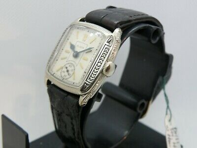 1920`s-30`s ELGIN ART DECO  BLACK ENAMEL ETCHED CASE MAN`S  WATCH...AWESOME DIAL