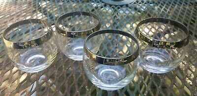 Set of 4 Dorothy Thorpe Style Roly Poly Silver Band Drink Glasses VTG MCM