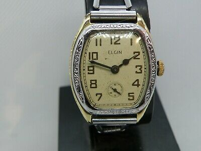 Antique Men`s 2 Tone Elgin *Legionaire* Men`s ..New Dial, Crystal,& Croc Band