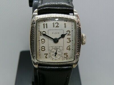 1920`s-30`s ELGIN ART DECO  BLACK ENAMEL ETCHED CASE MAN`S  WATCH...NUMBER DIAL