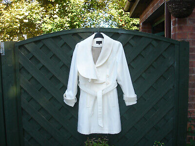 Marks and Spencer Limited Collection Cream Knee Length Coat Fully Lined Size 14