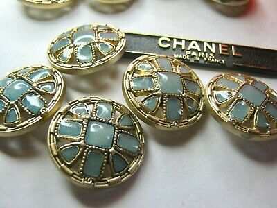 CHANEL 11 BUTTONS AQUA GLASS GOLD 24 mm ,  1 inch metal with  cc logo 11