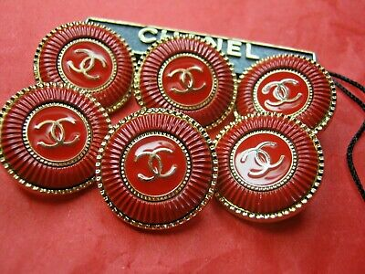 CHANEL 6 BUTTONS RED GOLD 20 mm ,  0,8 inch metal with  cc logo 6