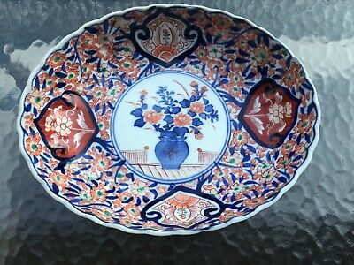 "Antique 10"" Japanese Imari  Porcelain Bowl Dish Scalloped Hand Painted Flowers"