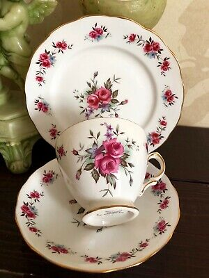 Vintage Queen Anne Bone China TRIO Tea Cup Saucer Plate Pink Floral Gold