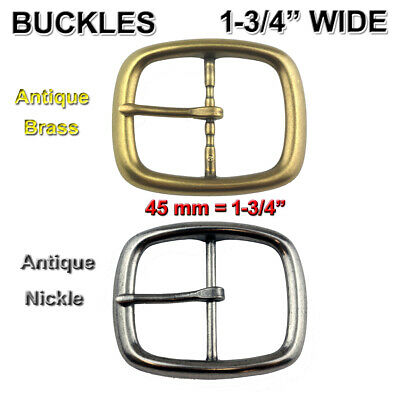 "🕐 Belt Buckle Fits 1-3/4"" Wide Belts Center Bar Replace Buckle Antique Nickle"