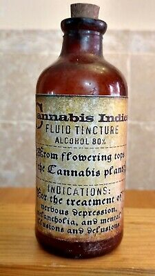 Vintage Medicine Hand Crafted Bottle, Cannabis Indica Fluid Tincture