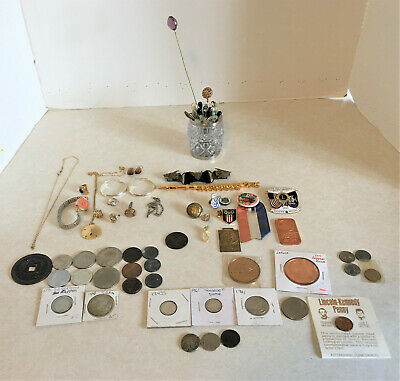 Vintage Junk Drawer 70+ Lot, US & Foreign Coins, Jewelry, Stick Pins, Fraternal