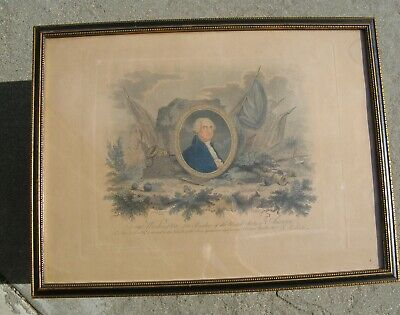 Rare George Washington Memorial Mourning Engraving Lithograph P. Roberts