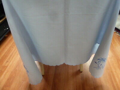 "VINTAGE EMBROIDERED FERNS/SCALLOPED EDGE BABY BLUE TABLECLOTH~48""  X 60"" Approx~"