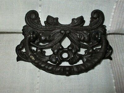 """Antique Ornate Victorian Cast Iron Drop Handle Drawer Pull 4 1/2"""" Long"""