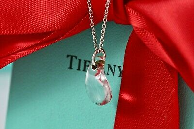 "RARE Tiffany & Co. Silver Elsa Peretti Crystal Teardrop Pendant 16"" Necklace"