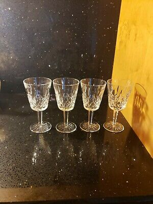 "4 Brilliant Waterford Crystal ""Lismore"" Water Goblets ~ Made In Ireland"