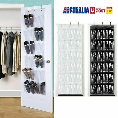 24 Pocket Shoe Holder Bag Organiser Over Door Hanging Shelf Rack Storage Hook AU