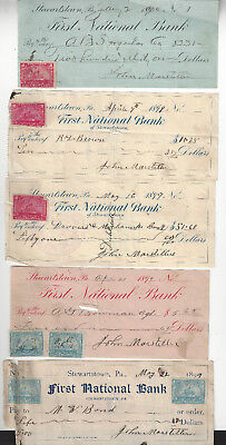 Stewartstown, PA - Cancelled Checks with Documentary Stamps 1899-1900 - Lot of 5