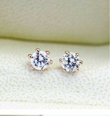 18K Rose Gold GF 6MM Classic Lab Diamond Stud Earrings Stunning Lovely Gifts