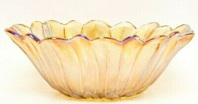 Vintage Carnival Glass Sunflower Shaped Bowl Indiana Glass Marigold Depression L