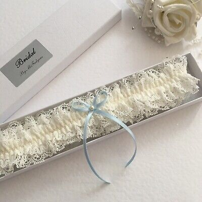 Wedding garter, boxed, Ivory with blue bow, Small to XLarge/Plus Size