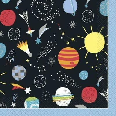 Outer Space Pack Of 16 Party Napkins 2 Ply Tableware Planets Rockets New Gift