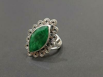 Marquise Faceted Natural Emerald 925 Sterling Silver Artisan Handmade Ring