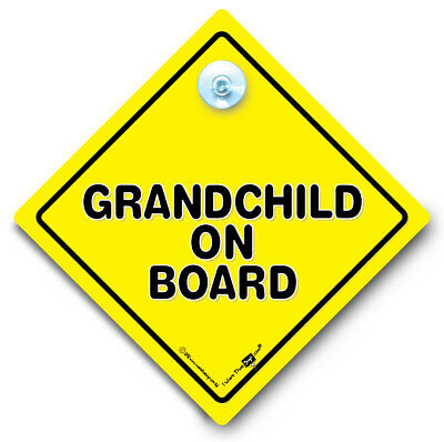 Grandchild On Board Car Sign, Baby On Board Sign, Suction Cup Sign