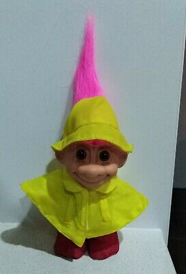 1990s Russ Troll Doll in Yellow Raincoat with Foot Sticker on Boot