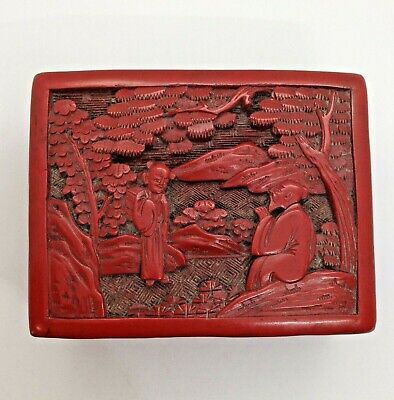 Beautiful Antique Chinese Carved Cinnabar Lacquered Lidded Box