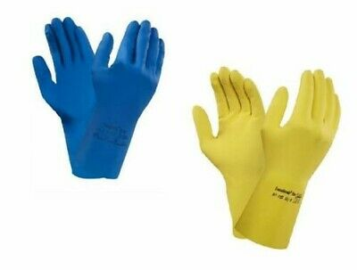 Ansell Strong Yellow / Blue Latex Rubber Household Kitchen Washing up Gloves