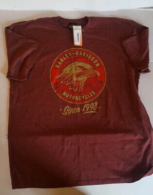 Harley Davidson 1903 Eagle Burgundy Short Sleeve T-Shirt XXL 115 Years