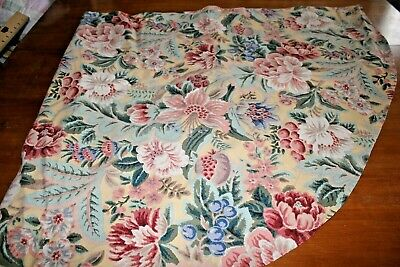 Tablecloth Vintage Pink Roses and Floral on Yellow Heavy Cotton 60 inch round
