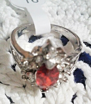 Stunning Modern Estate Red Marquis & Clear Stones Silver Tone Ring Size 6 New