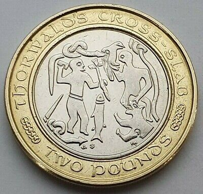 Isle of Man Thorwald's Cross Slab £2 coin - Circulated