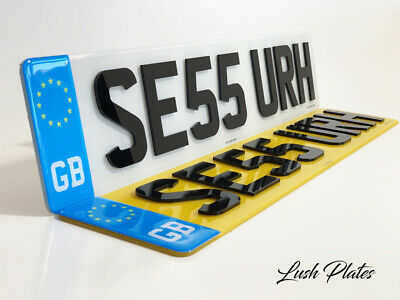 Pair Of GB Badges Road Legal Front & Rear 4D 3D Raised Gloss Black Number Plates