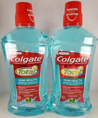 2 Colgate TOTAL GUM HEALTH Mouthwash Clean Mint 33.8 oz each Exp: 02/2020 *READ*