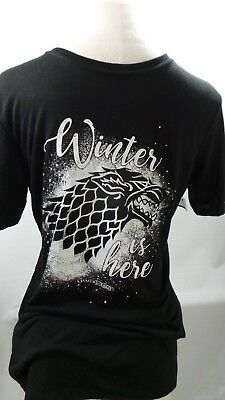 "GAME of THRONES "" Winter is Here "" SHIRT  M Medium mens black licensed t-shirt"