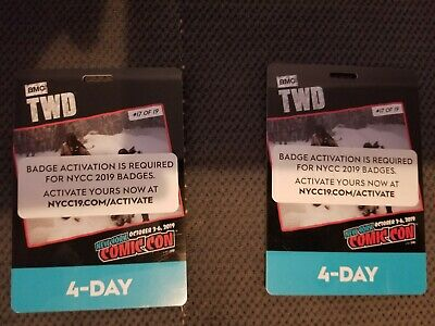 IN HAND - NYCC New York Comic Con 4 Day Passes ( Badge / Ticket ) 2019 Thu - Sun