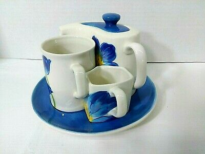 Hues 'n Brews Blue Poppy Tea Set Hand Painted Teapot Creamer Cup Underplate