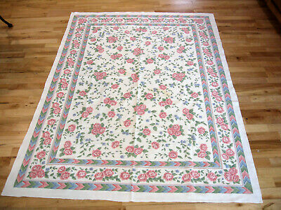 Vintage Tablecloth Pink Carnations Sunweave Corp. 48X68 Polyblend Made In Brazil