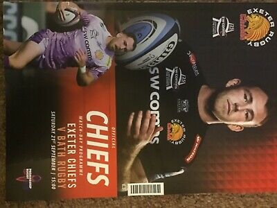 Exeter Chiefs  V Bath Rugby Match Programme 21/9/19 Premiership Cup