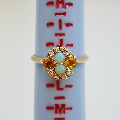 Stunning Antique Edwardian 14ct Gold Opal Citrine & Diamond Cluster Ring c1910