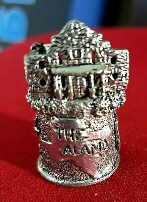 """High Relief """"Remember the Alamo"""" pewter thimble"""