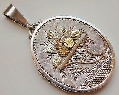 Stunning Antique Victorian Aesthetic Sterling Silver & Gold Floral Locket c1885