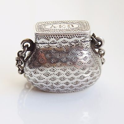 Antique Georgian Silver Vinaigrette c1820 by Ledsam & Vale - Ladies Purse Design