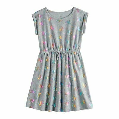 Girls 16 & Plus Size SO® Roll Cuff Tie Waist Unicorn design Dress