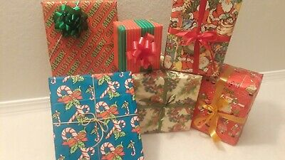 NOS In Package 10 Sheets Vintage Christmas Gift Wrap Wrapping Paper - Free Ship