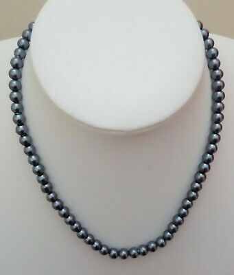 """22"""" 6mm Black Glass Pearl Necklace with Silvertone Plated Lobster Clasp RM"""