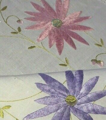 Vintage Hand Embroidered Lily Tablecloth Linen Pink Blue Purple Mauve