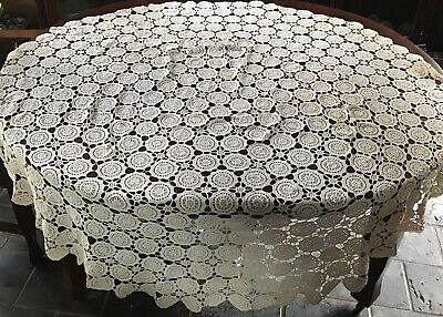 Vintage Hand Crochet Lace Cream Coffee Ecru Tablecloth Round Scalloped